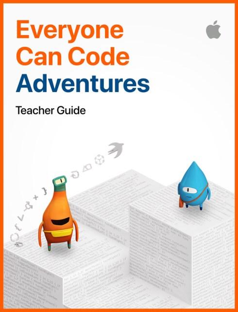 """Immagine della guida per insegnanti """"Everyone Can Code Adventures""""."""