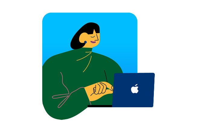 An illustration depicting a woman using MacBook.