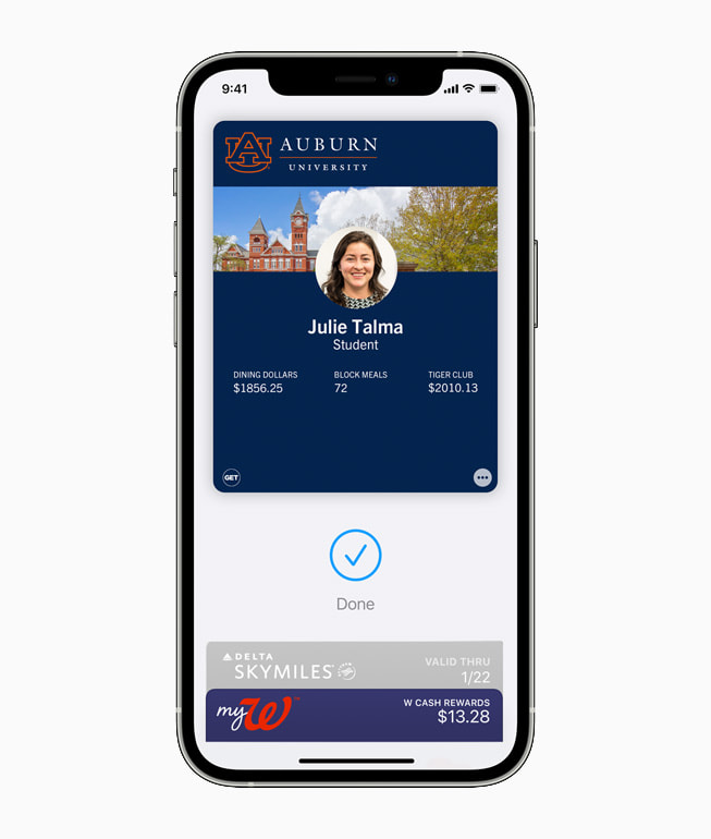 Student ID from Auburn University being used in Wallet on iPhone 12 Pro.