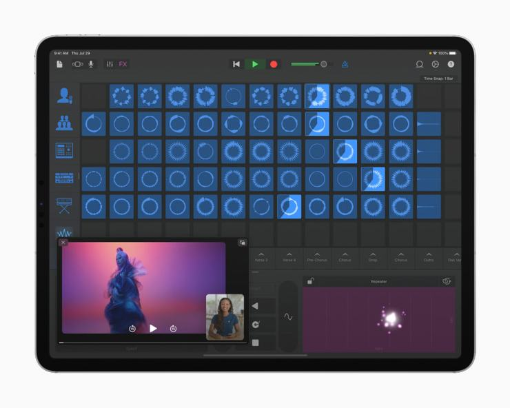 Lady Gaga's Remix Session in the GarageBand app, displayed on iPad Pro.