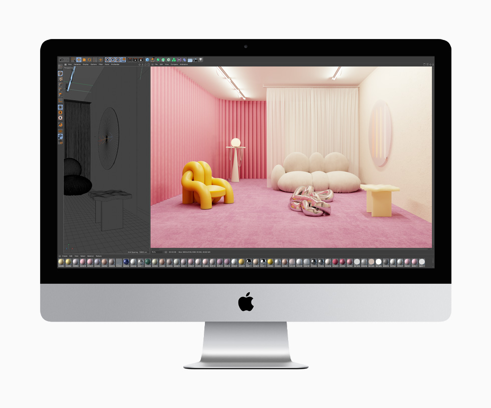 Created using Cinema 4D, two images, one of a sketch of a furnished room and the other a full-color rendering of that same room, show off the rich graphics capabilities of the 27-inch iMac.