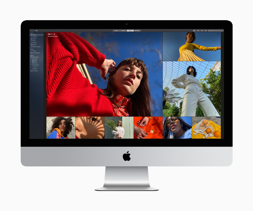 A woman in a red sweater and blouse and another in a yellow top and pleated skirt are among the nine richly colored photographs that demonstrate the vibrant image quality available on the 27-inch iMac.
