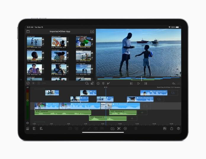 Il montaggio video 4K sul display di iPad Air.
