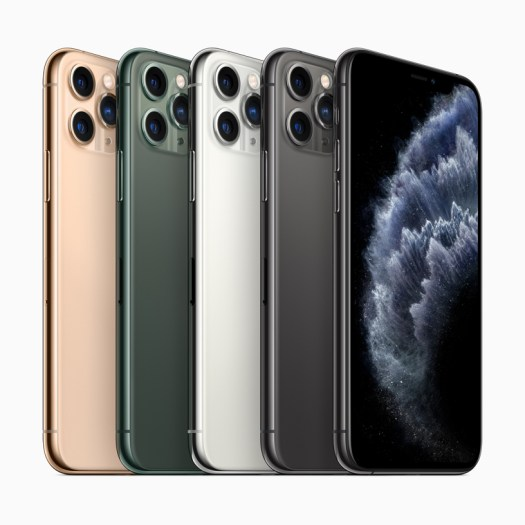 iPhone 11 Pro in midnight green, space gray, silver and gold finishes.