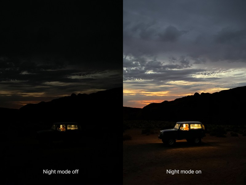 Disparo en la comparación del modo nocturno iPhone.