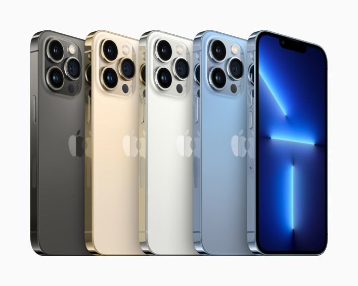 iPhone 13 Pro in graphite, gold, silver, and sierra blue.