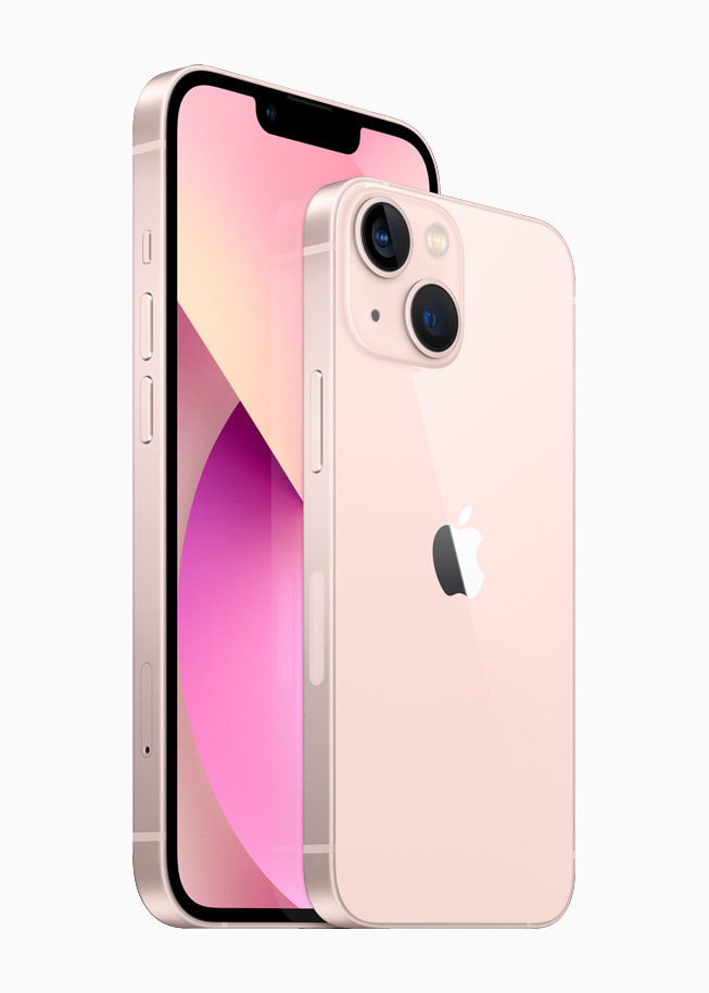 Front and back of iPhone 13 and iPhone 13 mini in pink.