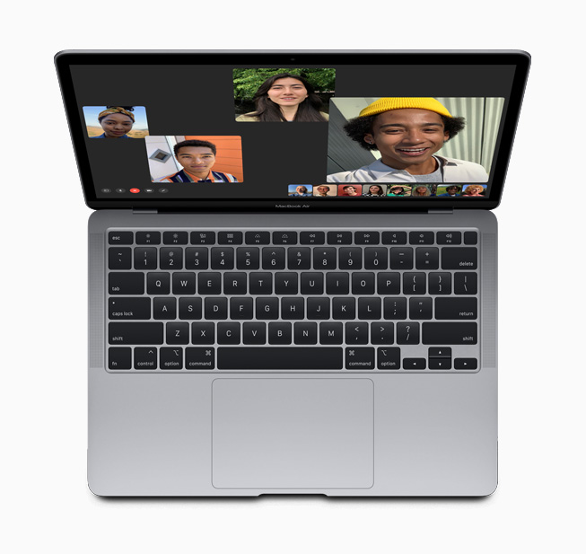 A group FaceTime call on the new MacBook Air.