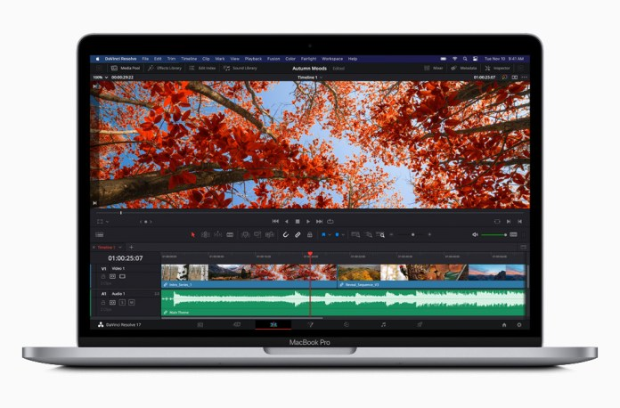 Software DaVinci Resolve su MacBook Pro.