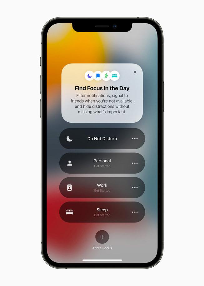 Un elenco delle modalità di Concentrazione su un iPhone 12 Pro.
