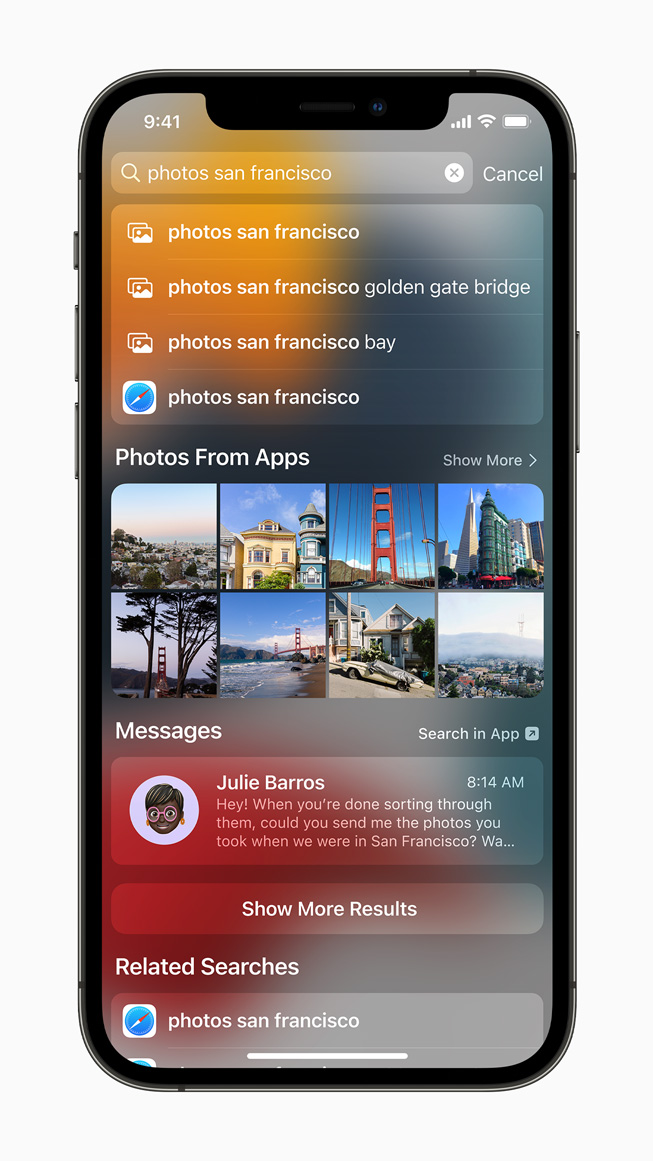 Spotlight experience displayed on iPhone 12 Pro.