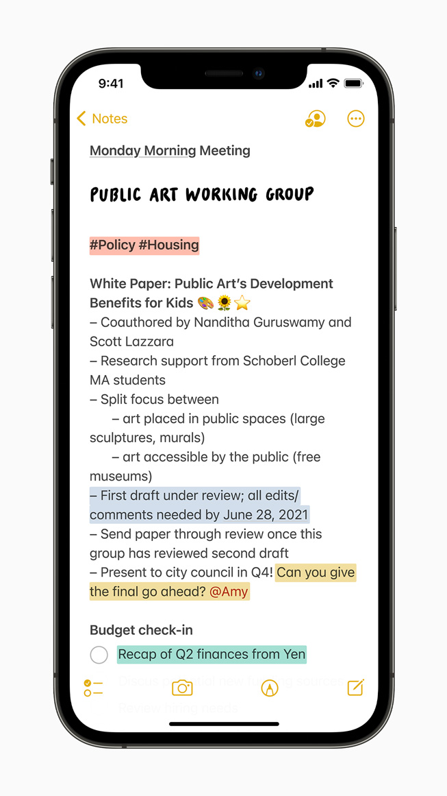 The new tagging feature in Notes displayed on iPhone 12 Pro.