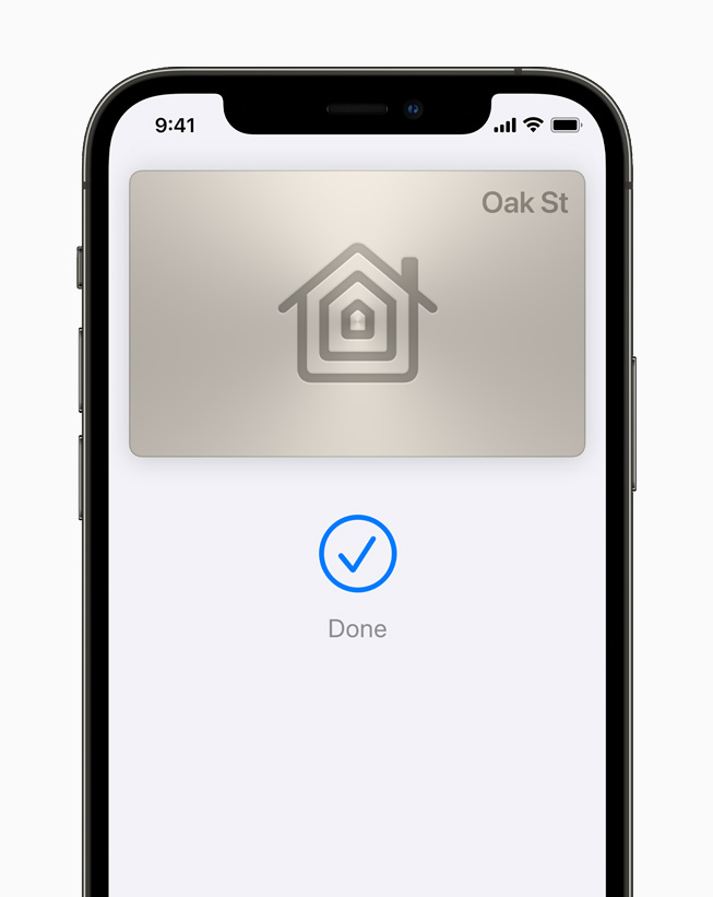 A digital home key displayed in Apple Wallet on iPhone 12 Pro.