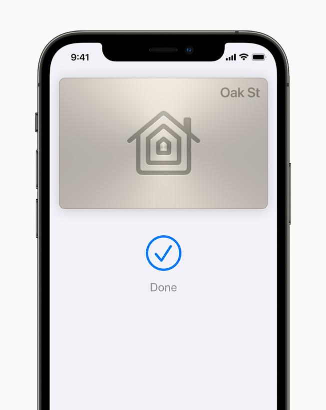 Una chiave di casa digitale in Wallet su un iPhone 12 Pro.