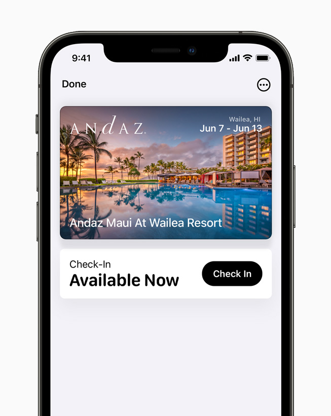 A digital hotel key displayed in Apple Wallet on iPhone 12 Pro.