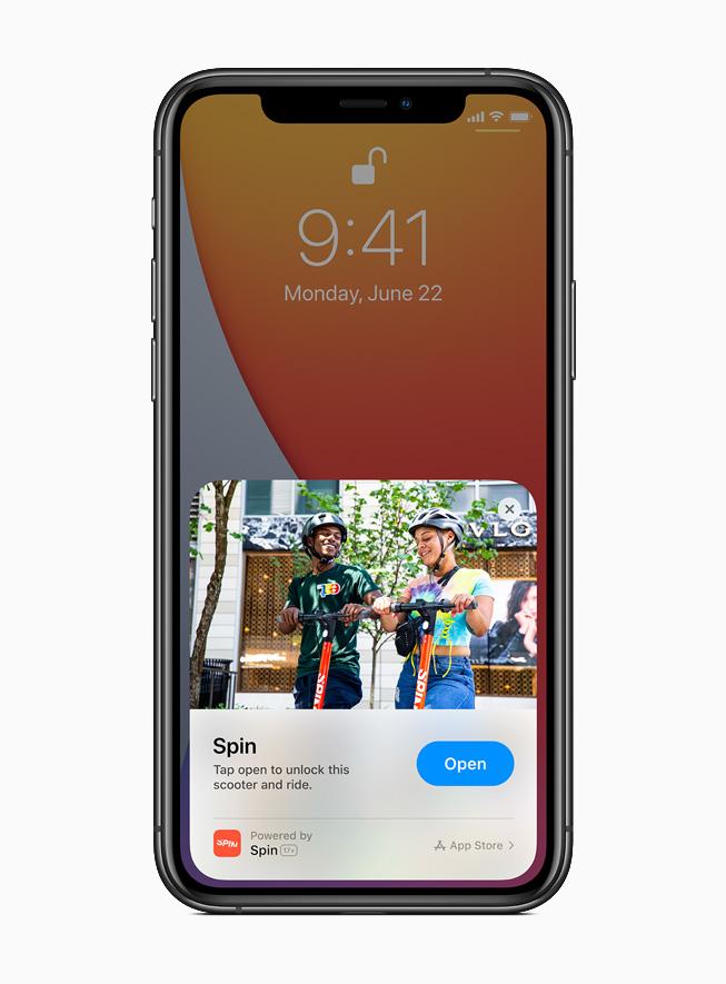 App Clip จากแอพ Spin บนหน้าจอ iPhone 11 Pro