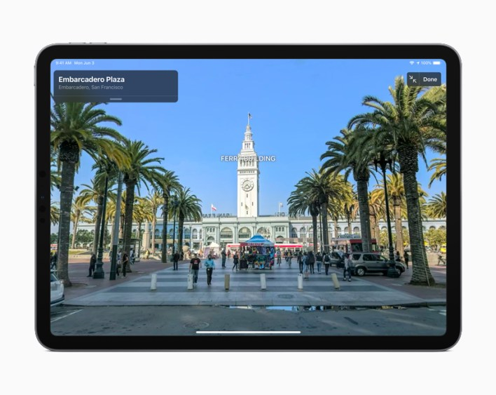 A Look Around view of Embarcadero Plaza in San Francisco displayed on iPad.