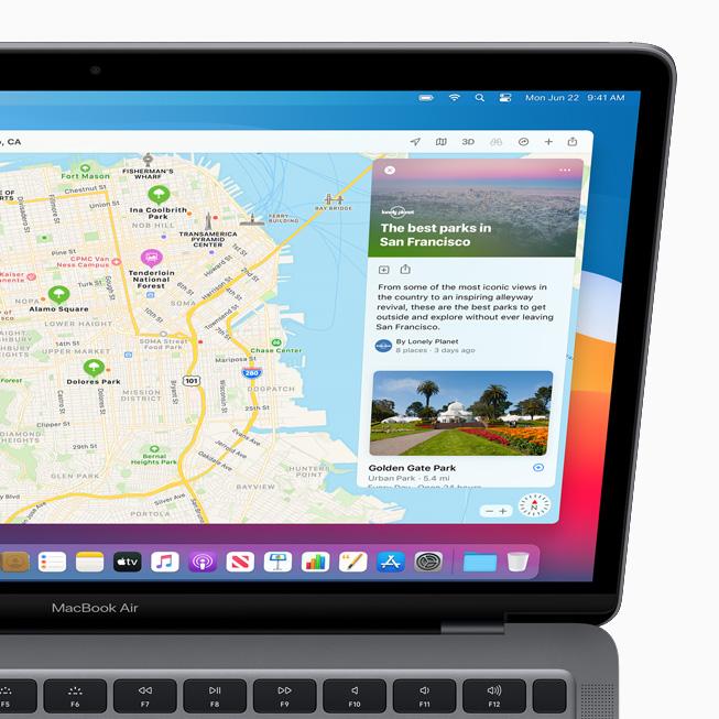 La nuova funzione Guide in Mappe visualizzata su MacBook Pro.