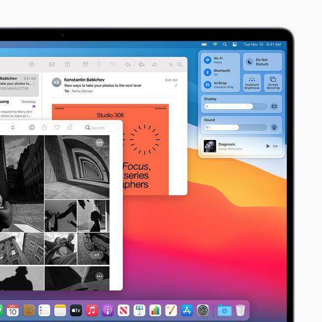 Nuovo Centro di Controllo su MacBook Pro.