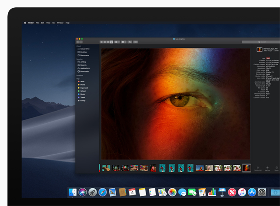 Screen shot of a Mac screen featuring the new Dark Mode setting