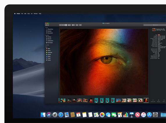 Screen shot of a Mac screen featuring the new Dark Mode setting