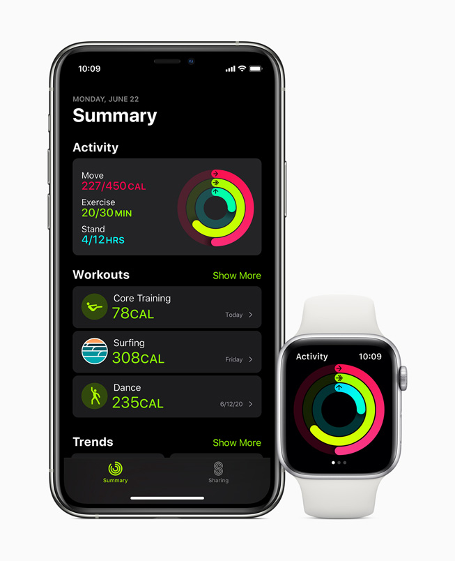 Activity data displayed on iPhone 11 Pro and Apple Watch Series 5.