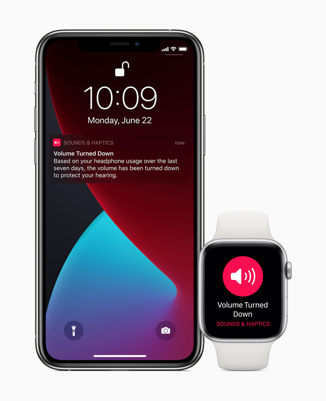 Volume alert displayed on iPhone 11 Pro and Apple Watch Series 5.