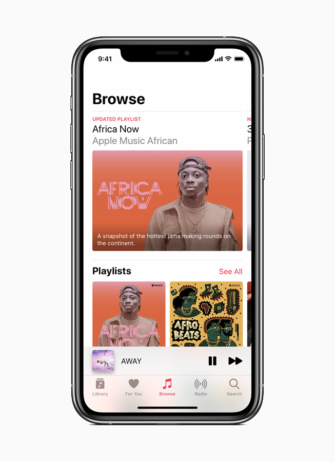 Apple Music playlist Africa Now displayed on iPhone.