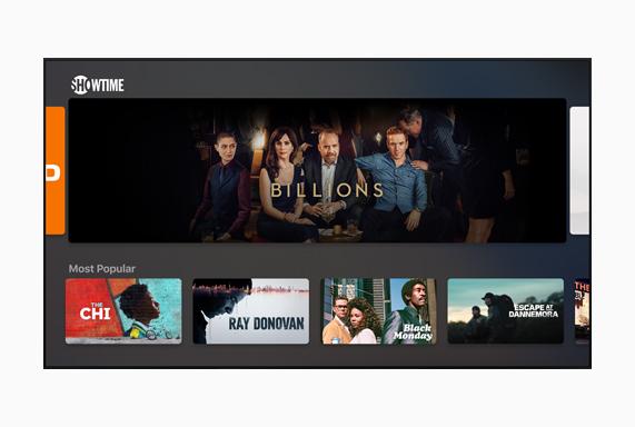 "Showtime screen showing ""Billions."""