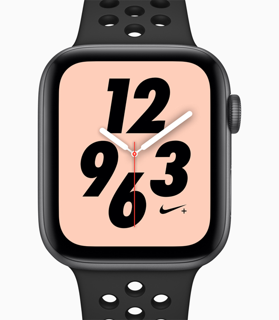 A profile shot of the new Apple Watch Nike+ featuring redesigned watch faces and matching bands.