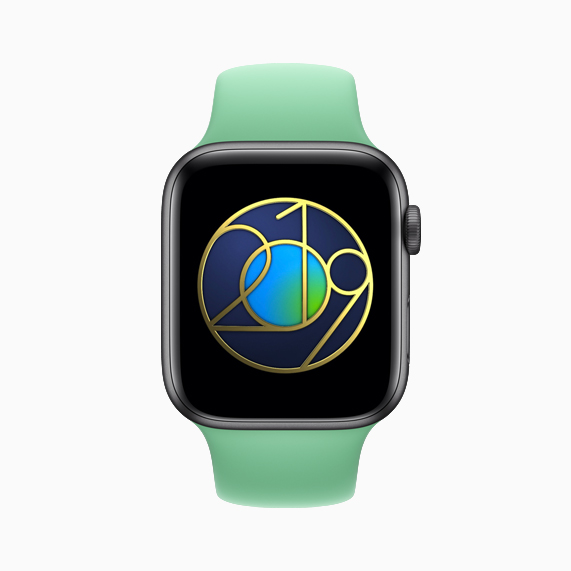Apple Watch showing Earth Day sticker.