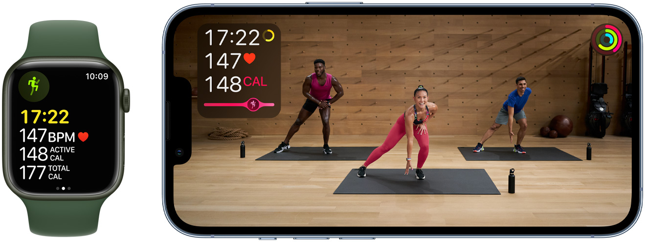 Apple Fitness + displayed on watch and phone