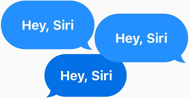 "Three blue speech bubbles all say ""Hey, Siri."""