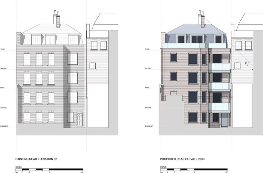 Proposed & existing elevation