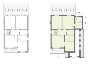 Existing and proposed second floor
