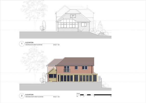 Existing & proposed elevation