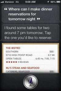 siri restaurant dinner reservations