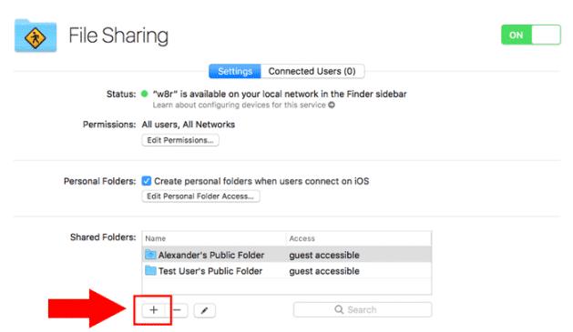 macos server file sharing add location