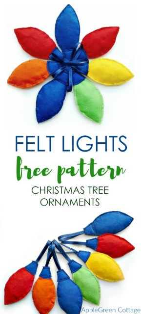 Felt Christmas Tree Lights ornaments tutorial with a Free PDF Sewing pattern. A perfect handmade gift idea and a beginner sewing project!