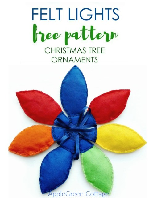 Felt Christmas Lights ornaments tutorial and Free PDF Sewing pattern. A perfect handmade gift idea and a beginner sewing project!