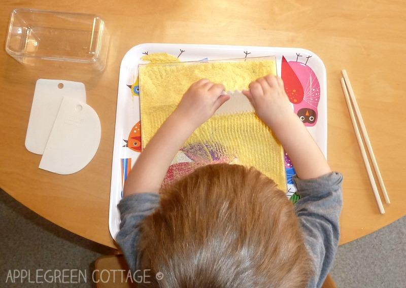 sensory activities for kids - making tracks