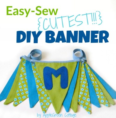 how to sew an easy fabric bunting banner. It's double-sided and so cute!