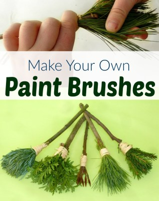 how to make DIY nature paintbrushes - kids activities