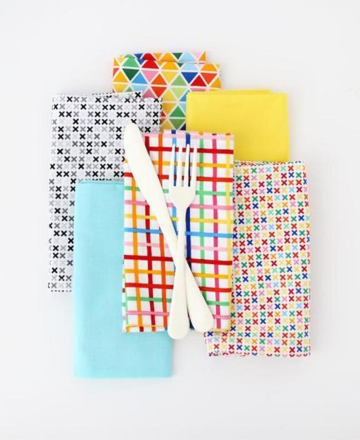 diy kitchen napkins in bright colors