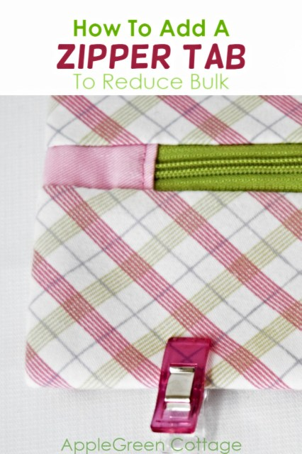 How to sew a zipper tab to reduce bulk on the side seams of any zipper pouch you make from now on. It's an easy how-to for beginners that will make your sewing better, easier, and your zipper pouches look so cute! Check it out!
