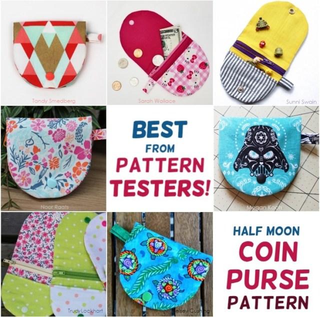 Half moon coin purse pattern versions