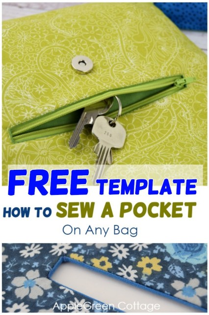 how to sew a pocket on bag with free template
