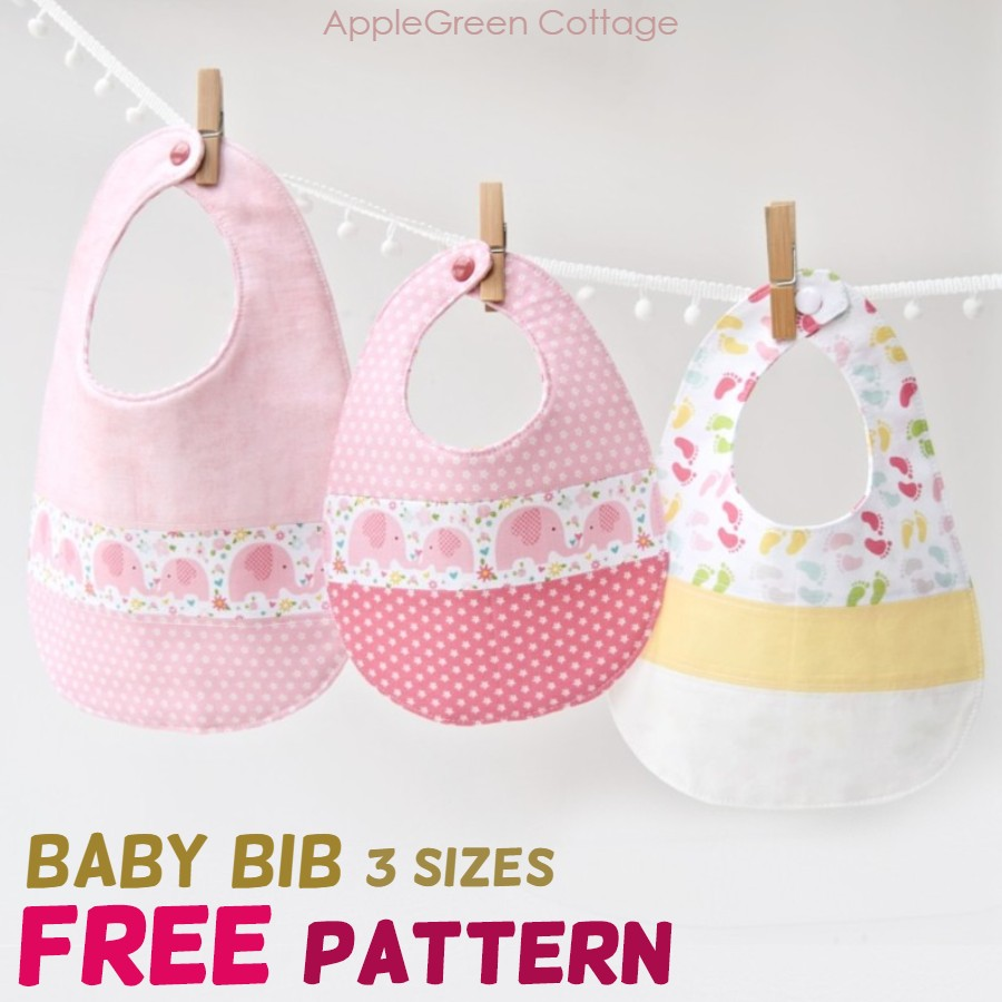 diy baby bibs made with free pattern