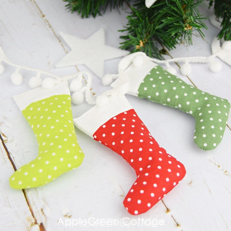 mini stocking garland in red and green
