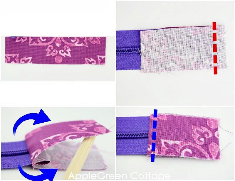sewing zipper into bag